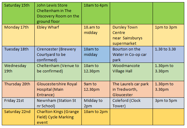 a multi colour grid with dates, locations and times