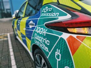 Electric police car at Gloucestershire Constabulary HQ with zero emissions